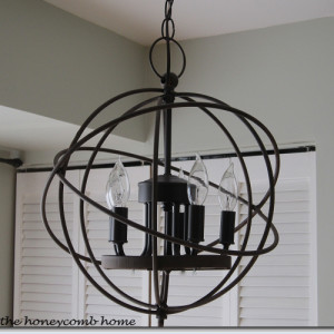 Knock Off Orb Chandelier   www.theHoneycombHome.com