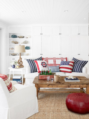 Red White And Blue Pillows Living Room Decorating