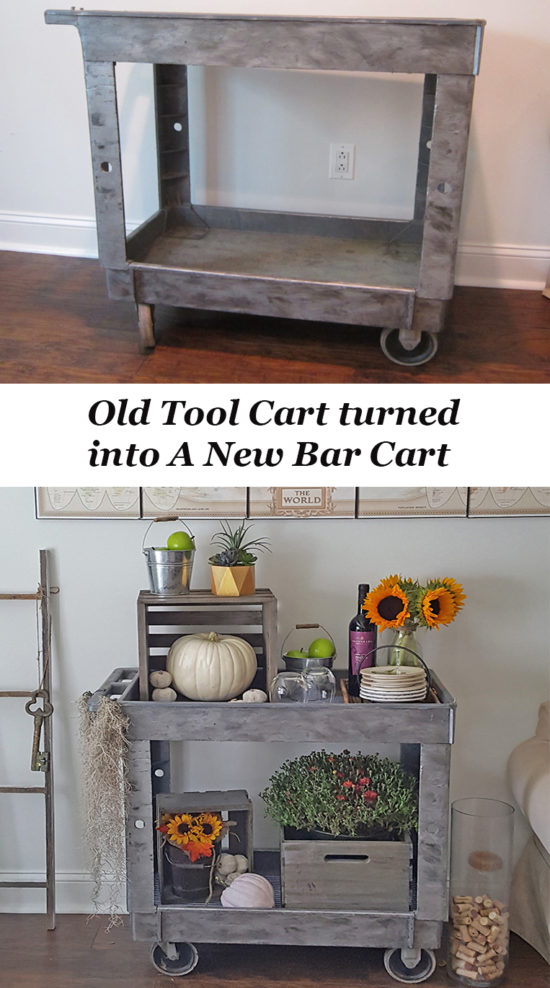 This old tool cart was repurposed into a bar cart and painted with a DIY galvanized finish!