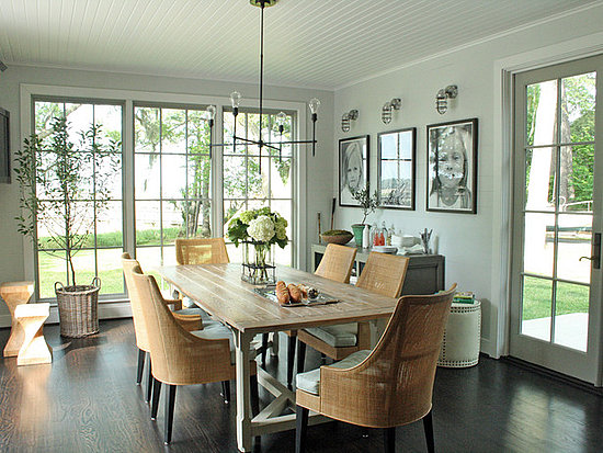 Airy Dining Room with painted trim