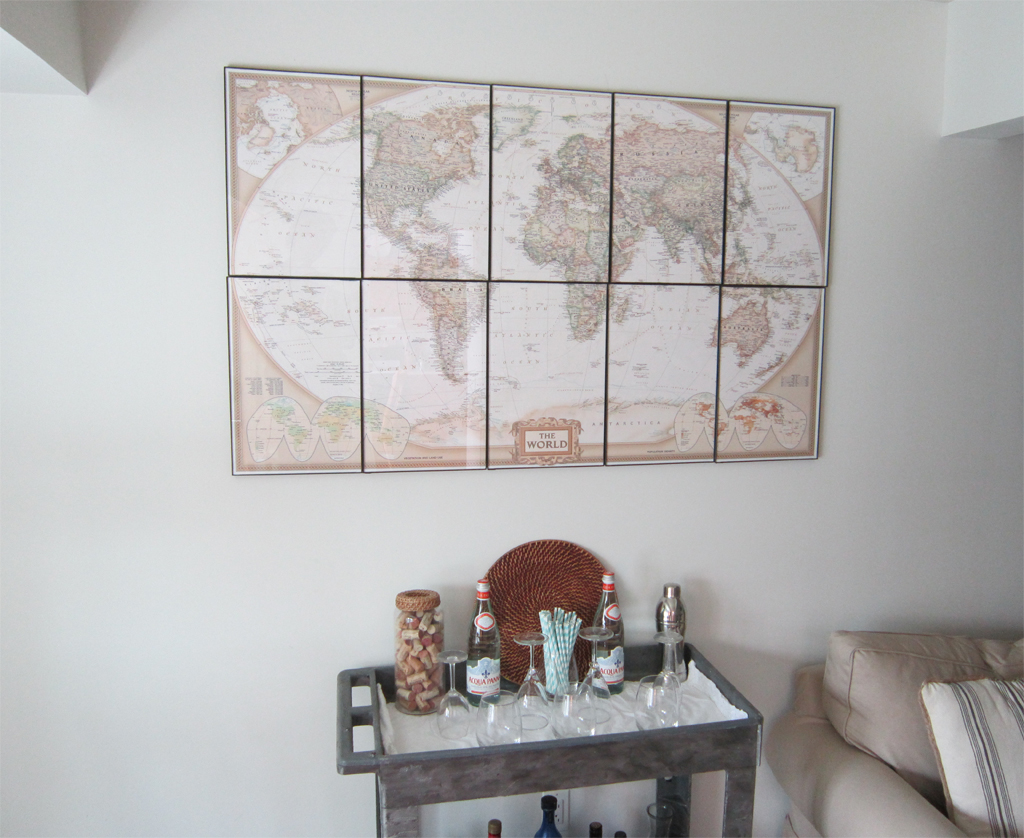 DIY map wall art