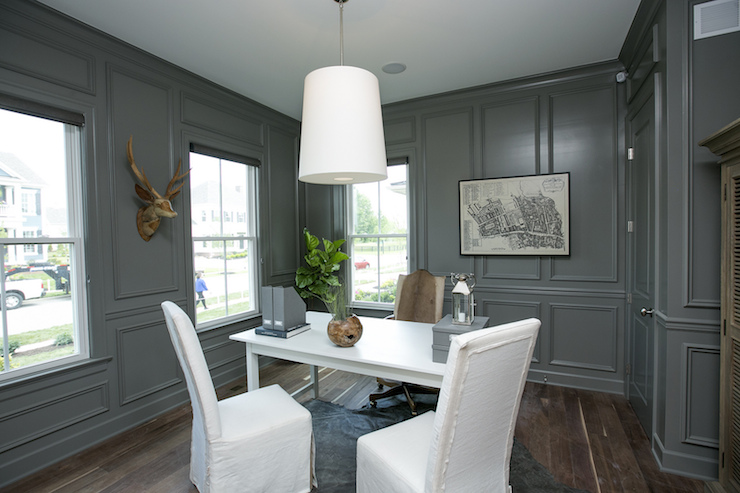 gray and white home office