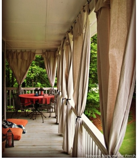 Outdoor drop cloth curtains
