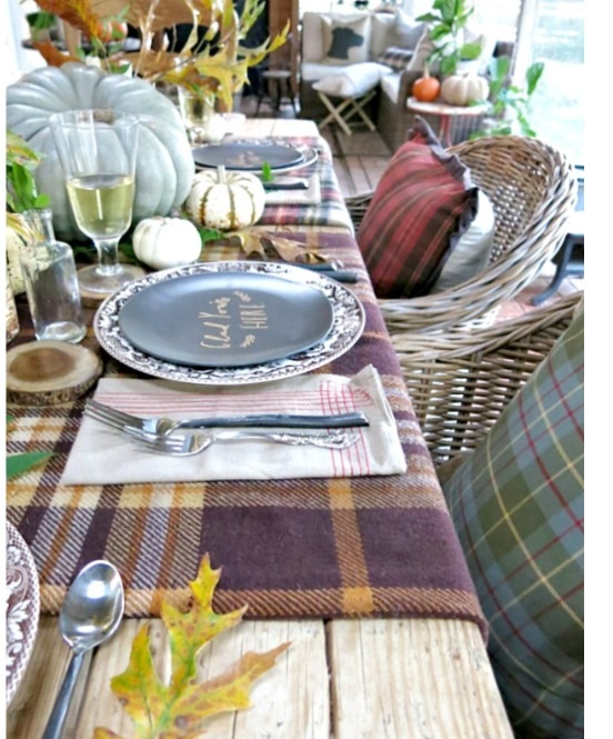 Plaid blanket tablecloth
