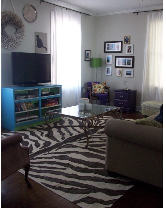 Zebra rug drop cloth