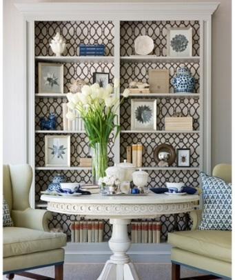 Lined bookshelves
