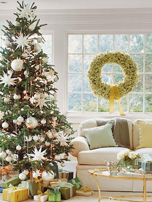 tree with white ornaments
