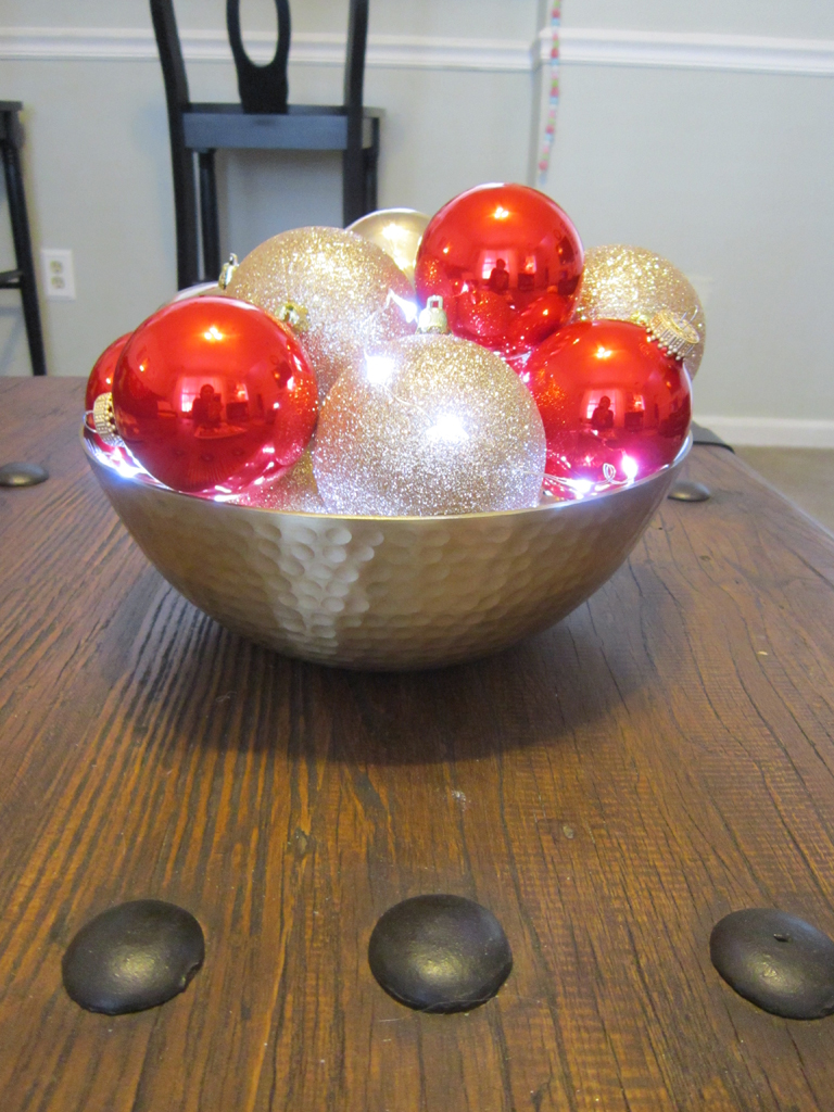bowl with ornaments and lights