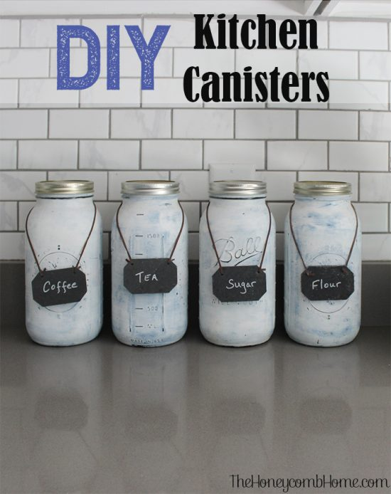 DIY Kitchen Canisters, I love these because they fit alot but don't take up much space!