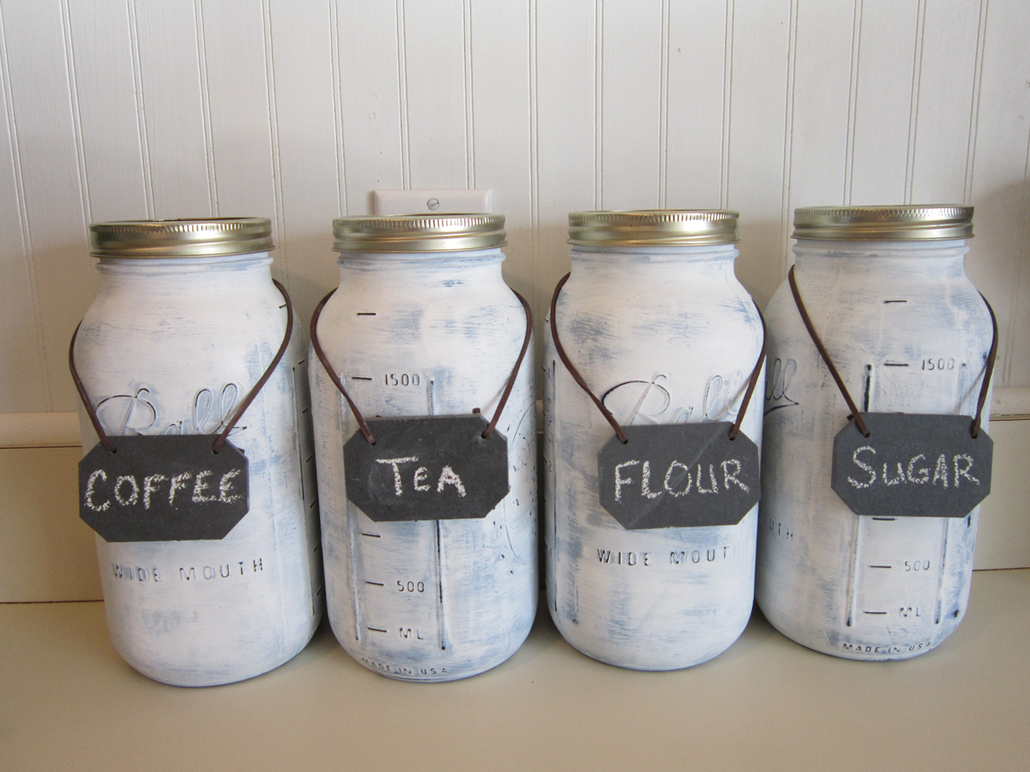 Mason jar canisters for Mason jar kitchen ideas