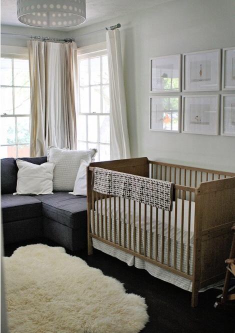 Sheepskin rug nursery