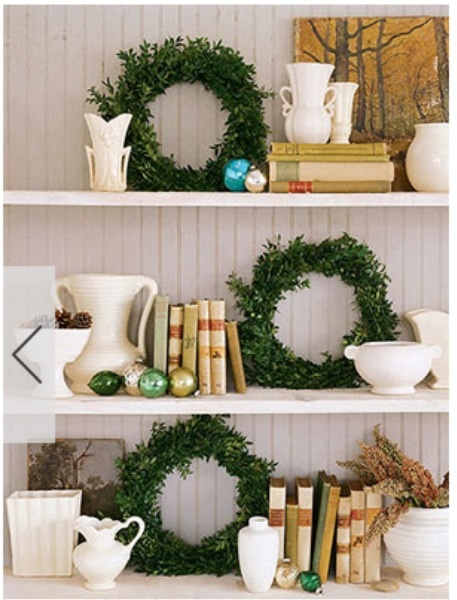 Boxwood wreaths on shelves