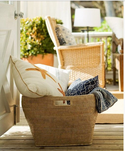 Basket for pillows and throws
