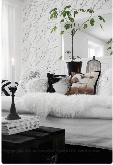 Sofa with sheepskin