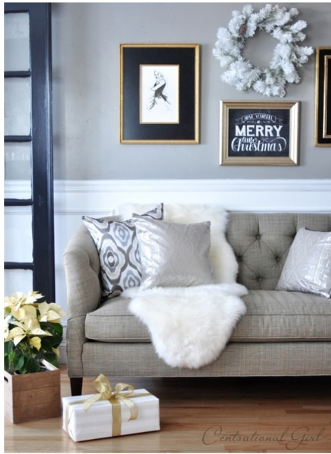 Sheepskin over couch