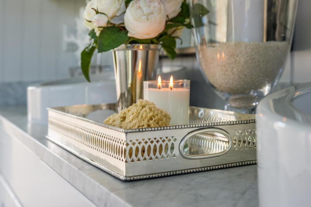 serving tray in bathroom