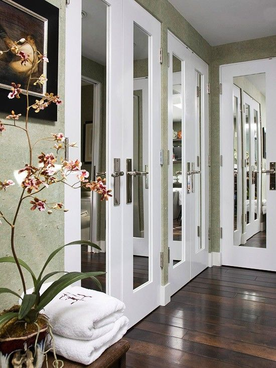mirrored doors with trim & Closet Doors