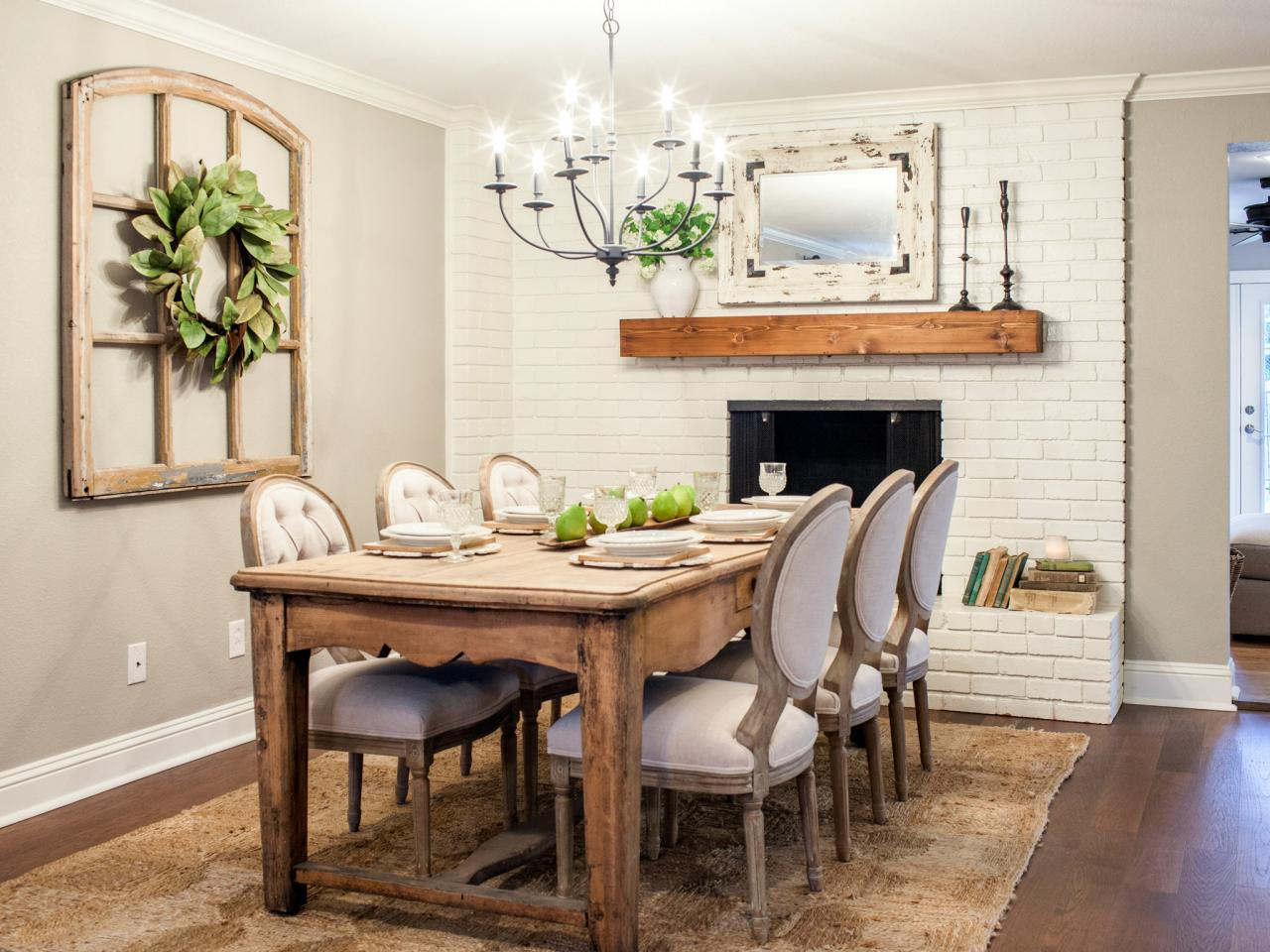 Room from fixer upper for Rustic dining room designs