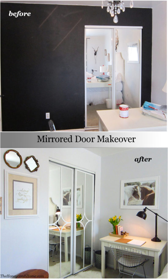 Mirrored Sliding Closet Door Makeover - You won\u0027t believe how easy it is! & Mirrored closet door makeover