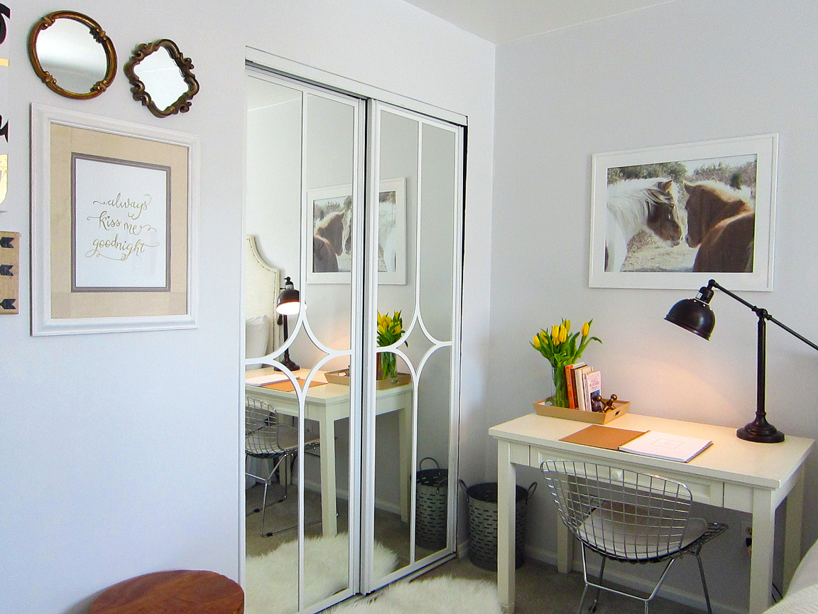 mirrored closet door makeover. Black Bedroom Furniture Sets. Home Design Ideas