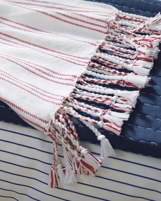red and white summer throw blanket