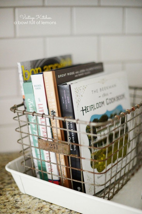 cookbooks in vintage basket