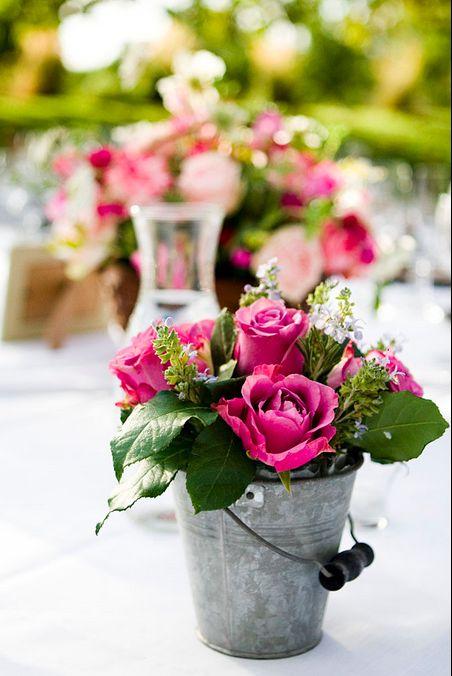 flowers in galvanized bucket