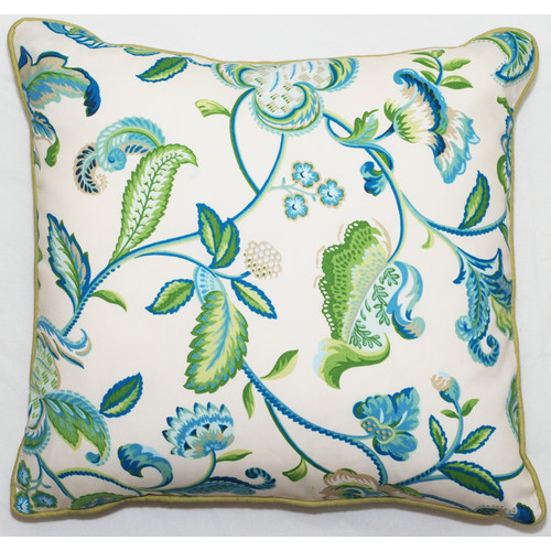 blue and green outdoor pillow