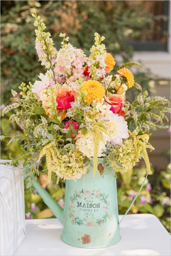 florals in rustic pitcher