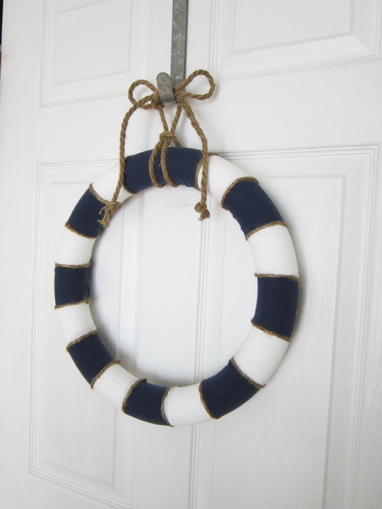 striped summer wreath