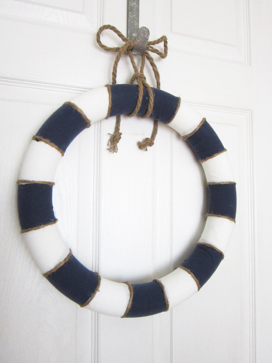 blue and white summer wreath