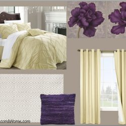 yellow and purple bedroom