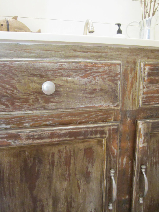 distressed stained cabinets