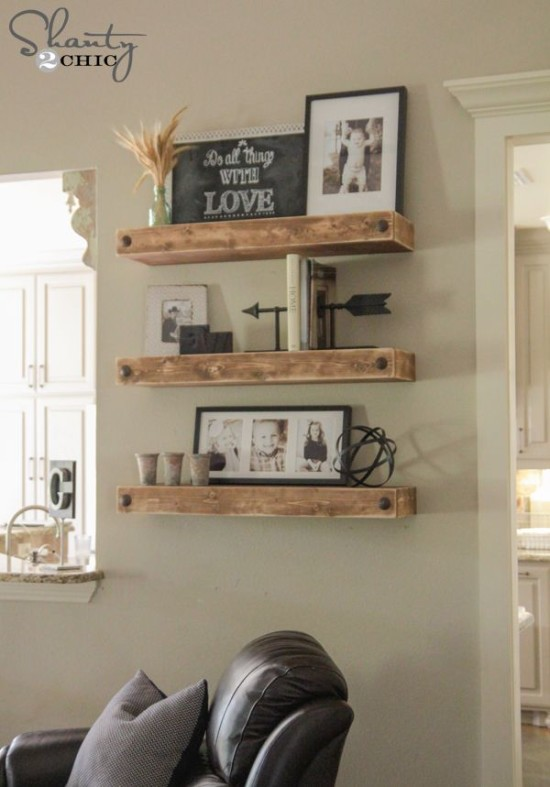 rustic nailhead shelf