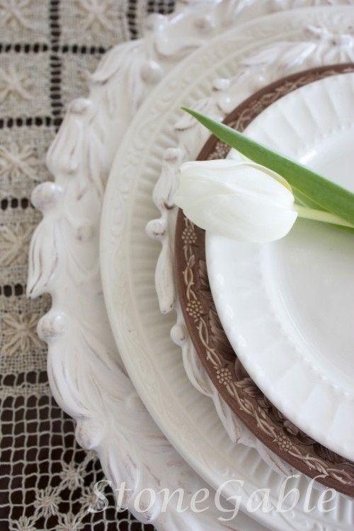 beautiful white plates
