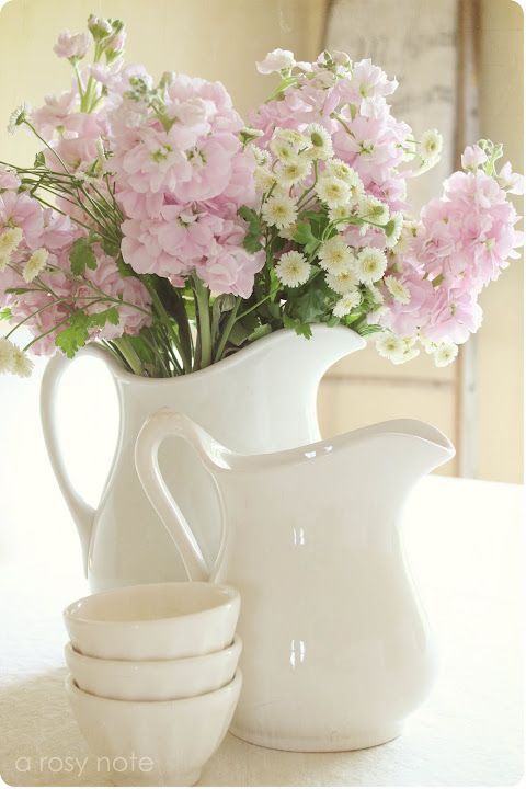 pitchers with florals