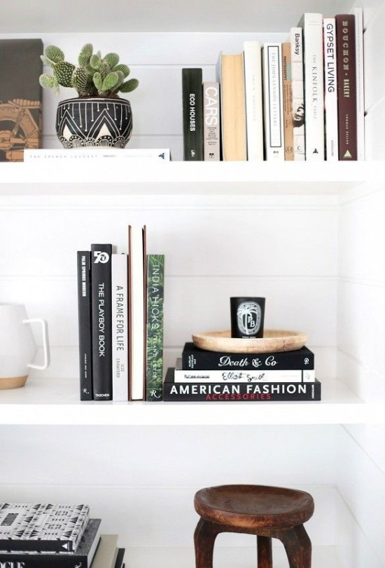 shelf styling with books