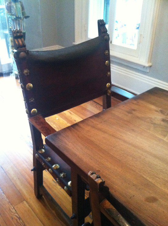 Antique chair with nail head trim