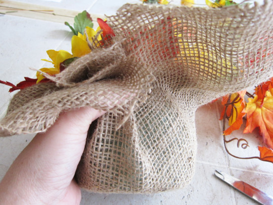 Burlap fall centerpiece