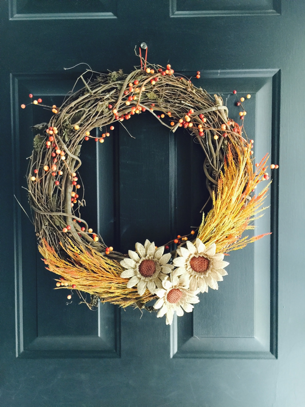 Diy Fall Wreaths Part - 19: DIY Fall Grapevine Wreath