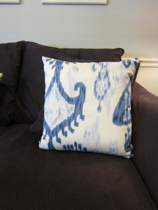 Ikat Pillows on Couch