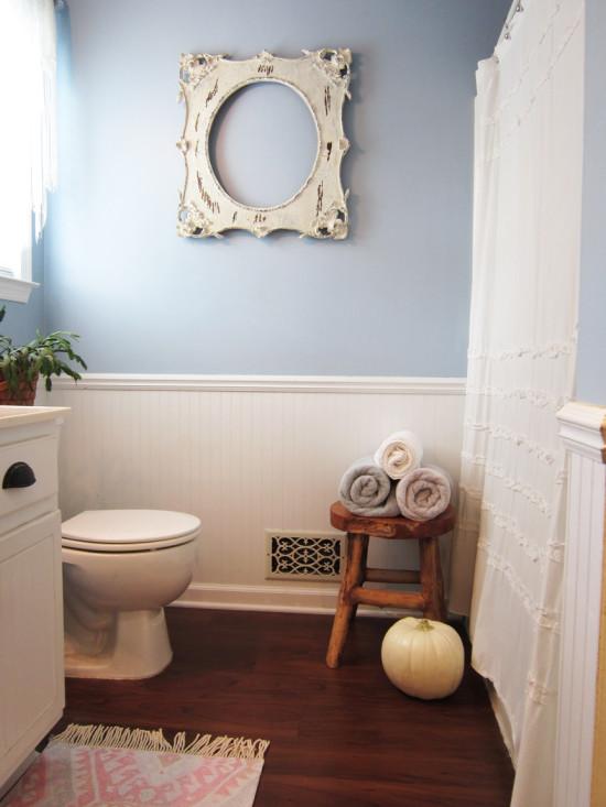 white pumpkin in the bathroom