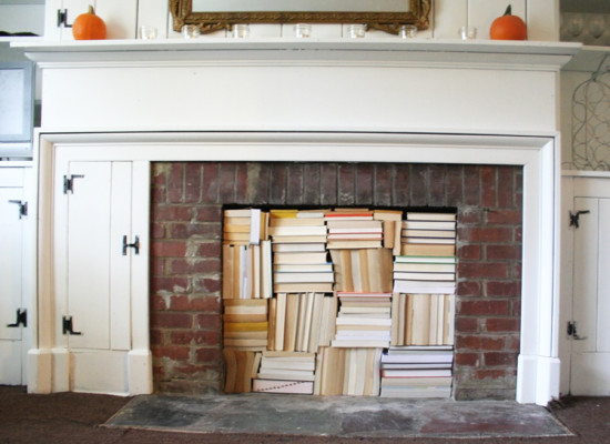 Fireplace with books