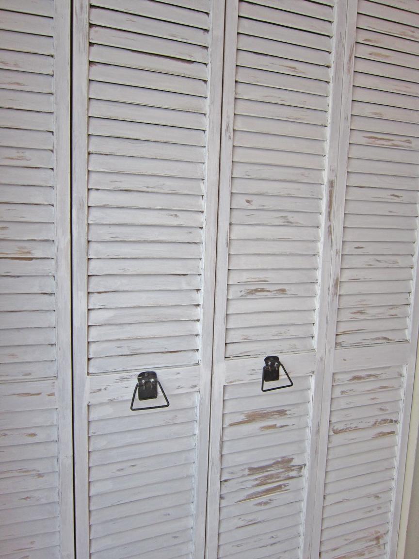 distressed shuttered doors & Kitchen Door Makeover -