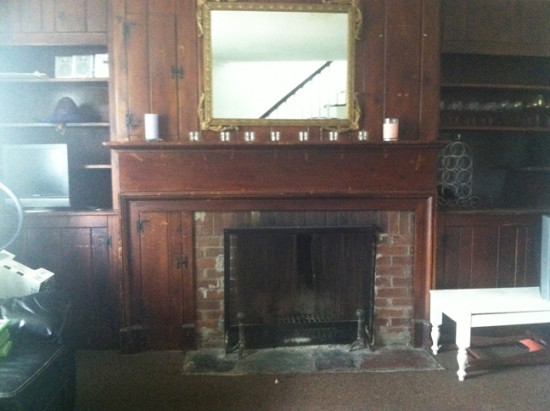 vintage fireplace with built ins