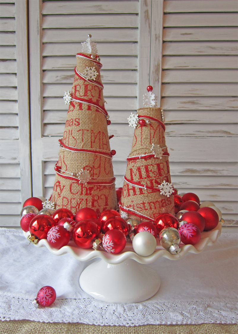 Burlap Christmas Trees - The Honeycomb Home
