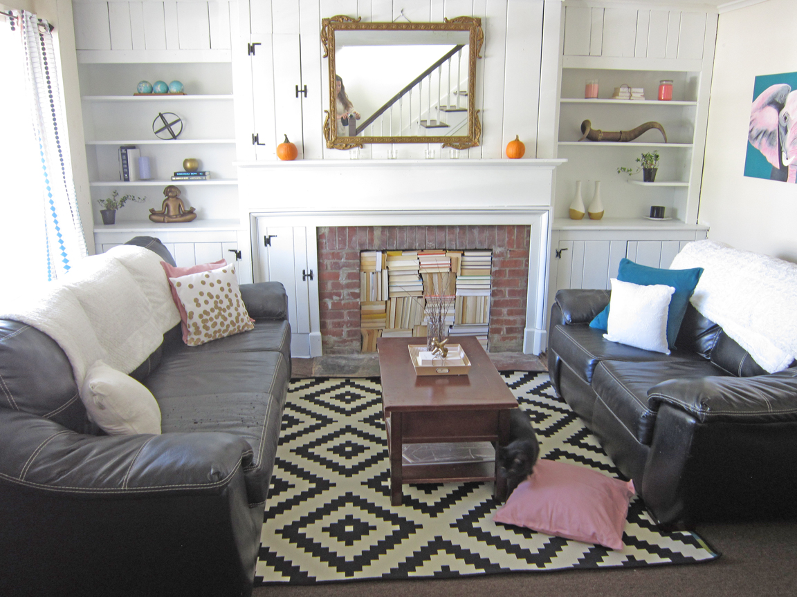 Living Room Makeover Fireplace with books One