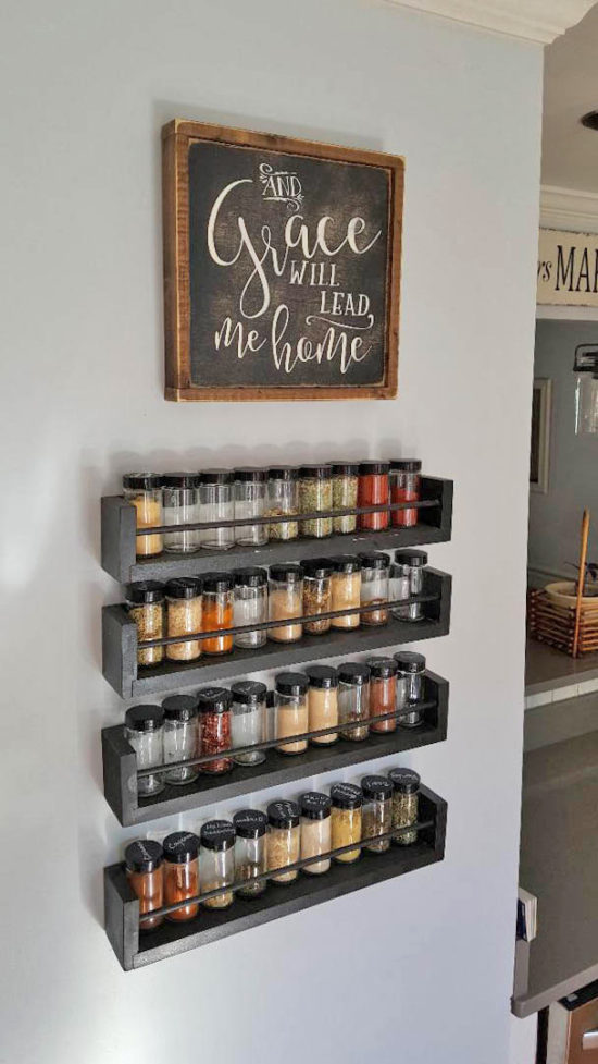 kitchen wall spice rack - small changes big impact
