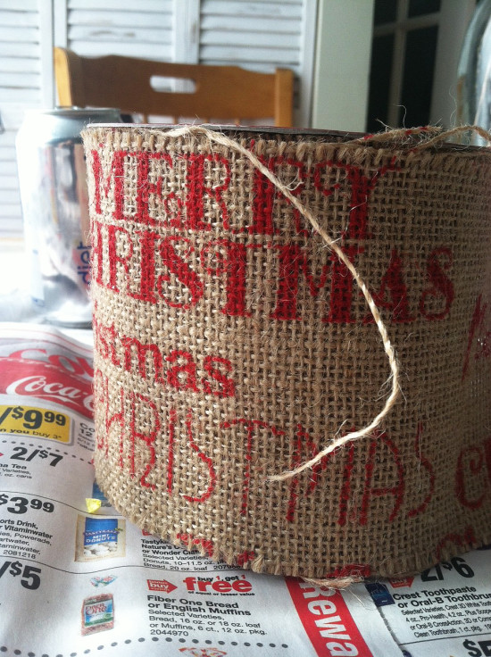 Burlap christmas trees the honeycomb home for Burlap ribbon on tree