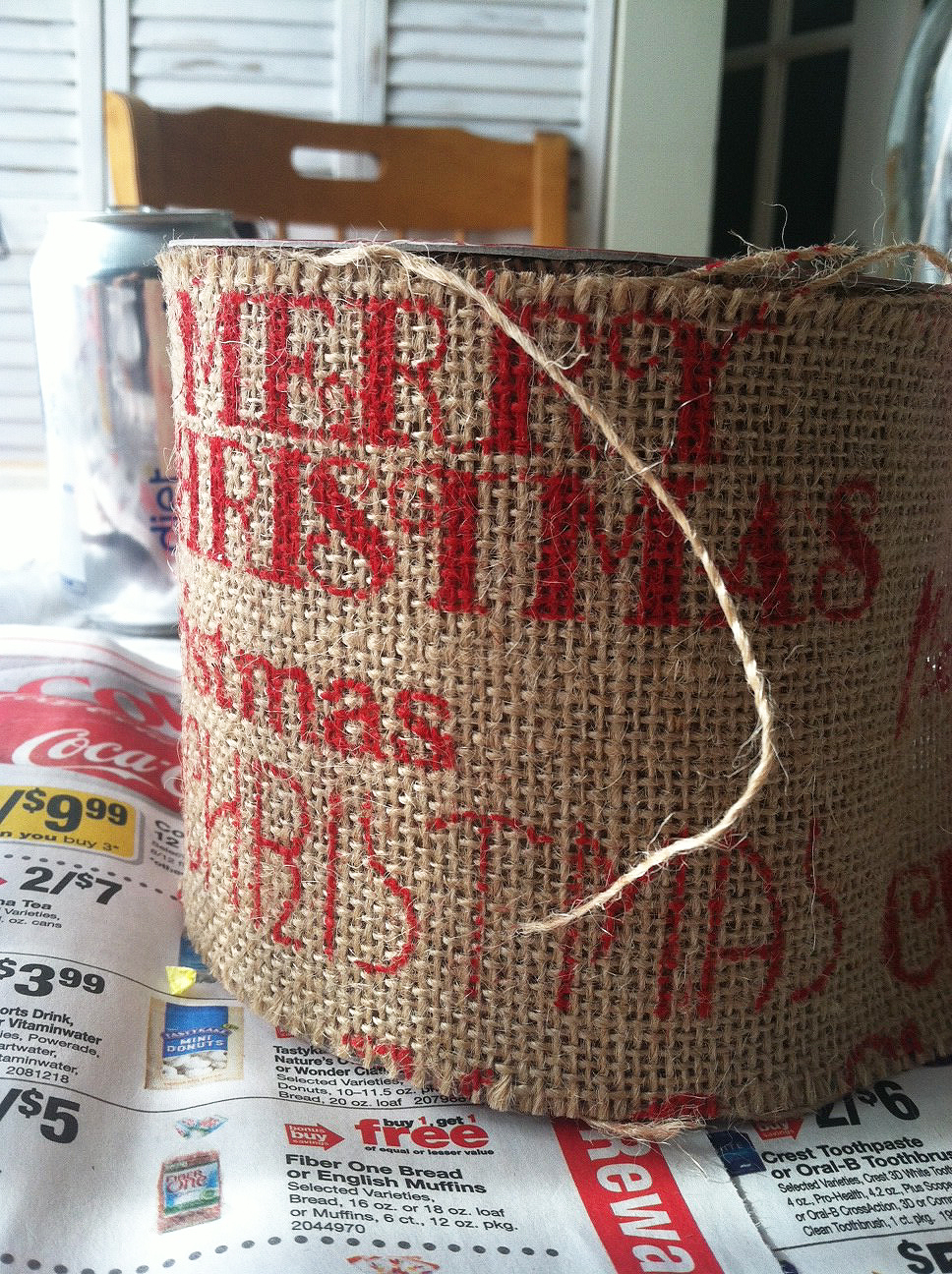 Burlap christmas trees the honeycomb home for How to use burlap ribbon